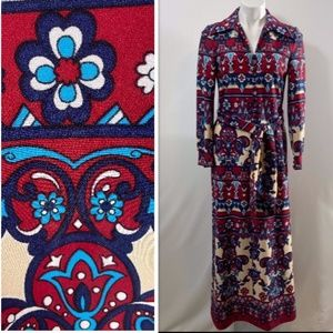 Vintage 1970s Butte Knit Psychedelic Maxi Dress